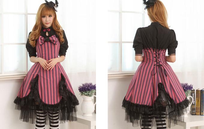 Lolita Small High Collar Short Sleeve Dress
