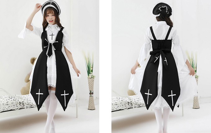 Lolita Black Or Red Dress And Shirt And Hat Set
