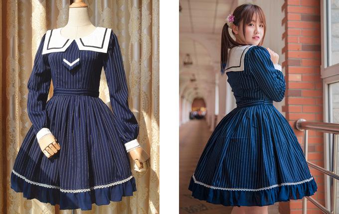 Stripes School Lolita Long Sleeve Dress