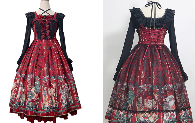 Classic Lolita Wine Red Sling Dress