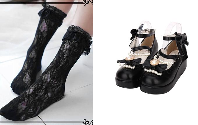 Pearl Chain Classic Lolita Shoes