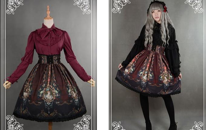 Retro Printing Classic Lolita Skirt