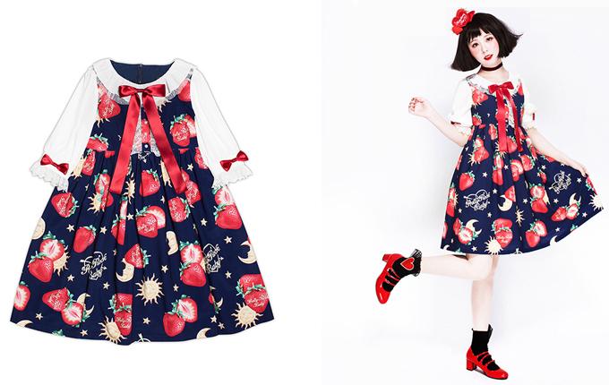 Sweet Lolita High Waist Half Sleeve Dress