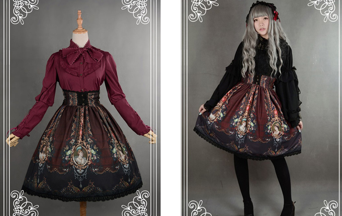 Wine Red Retro Printing Classic Lolita Skirt
