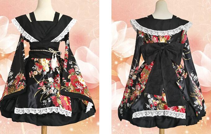 Black Kimono Classic Lolita Dress