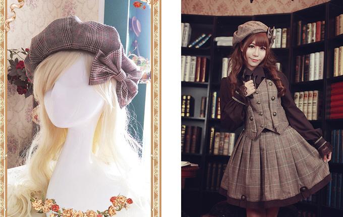 Bowknot Detective Style Lolita Pumpkin Hat